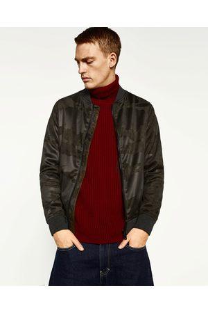 Homme Vestes en cuir - Zara BLOUSON CAMOUFLAGE EN DAIM