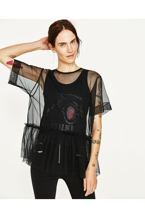 d4c523b52d8 Femme T-shirts - Zara T-SHIRT EN MATIÈRES ASSORTIES AVEC TULLE