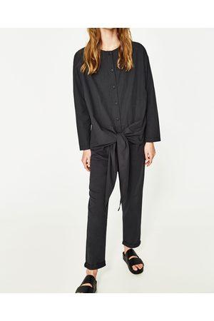 Femme Zara CONTRAST POPLIN JUMPSUIT