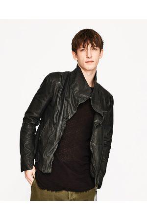 Homme Vestes en cuir - Zara BLOUSON EN CUIR DARK