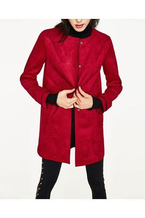 Femme Manteaux - Zara MANTEAU EN SUÉDINE AVEC COL ROND - Disponible en d'autres coloris