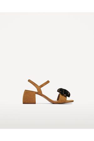 Femme Sandales - Zara SANDALES EN AVEC POMPON EN RAPHIA