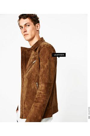 Homme Vestes en cuir - Zara BLOUSON BIKER EN CROÛTE DE CUIR