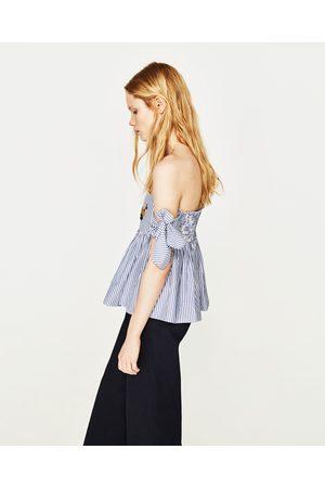 Femme Chemises - Zara TOP À ÉPAULES DÉNUDÉES À RAYURES