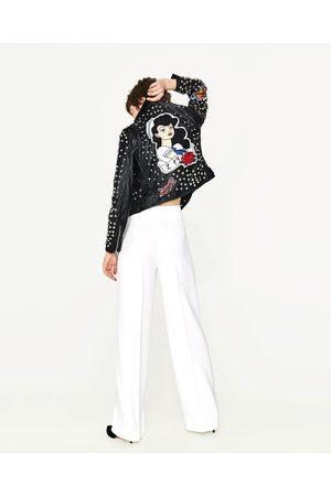 Femme Vestes en cuir - Zara BLOUSON EN CUIR AVEC CLOUS ET PIÈCES