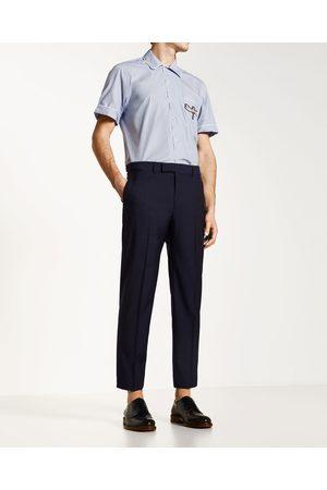 Homme Pantalons classiques - Zara PANTALON EN LAINE BLEU MARINE