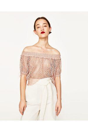 Femme Tops & T-shirts - Zara TOP EN GUIPURE À ÉPAULES DÉCOUVERTES