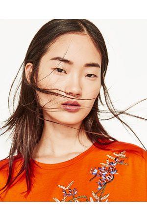 tee shirt orange femme zara