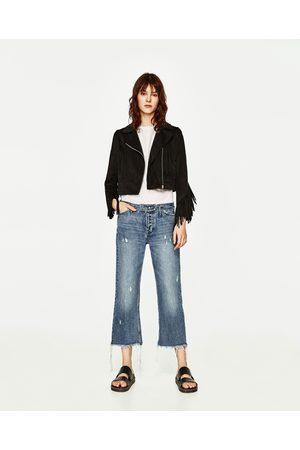 Femme Vestes en cuir - Zara BLOUSON EN DAIM À FRANGES