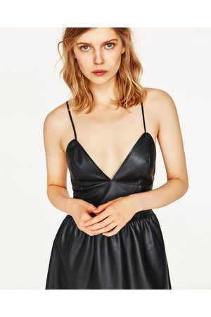 Femme Robes sans manches - Zara ROBE EN SIMILI CUIR À BRETELLES