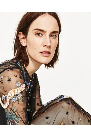 Femme Robes longues - Zara ROBE MI-LONGUE EN TULLE BRODÉ