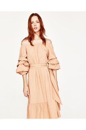 Femme Robes - Zara ROBE EN POPELINE AVEC ÉPAULES DÉCOUVERTES