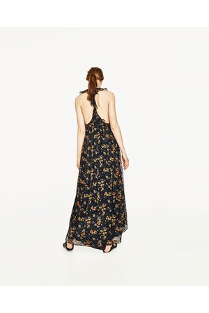 Femme Robes longues - Zara ROBE LONGUE À BRETELLES VOLANTÉES