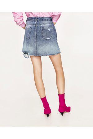 Femme Mini-jupes - Zara MINI JUPE EN JEAN AVEC PERLES