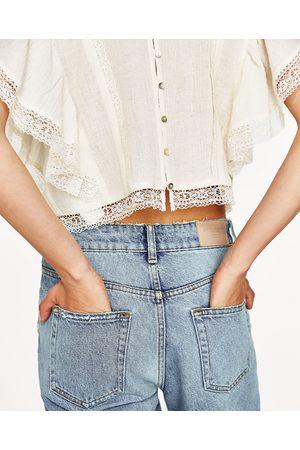 Femme Tops & T-shirts - Zara TOP BRODÉ ET VOLANTS