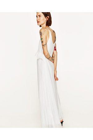 robe longue blanche simple manche longue zara