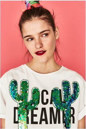 Femme T-shirts - Zara T-SHIRT CACTUS À PAILLETTES