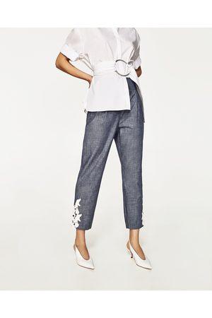 Femme Pantalons - Zara PANTALON EN CHAMBRAY ET DENTELLE EN CONTRASTE