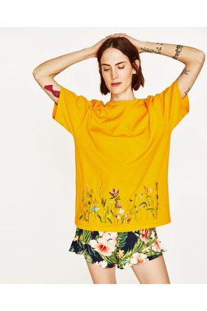 t shirt orange femme zara