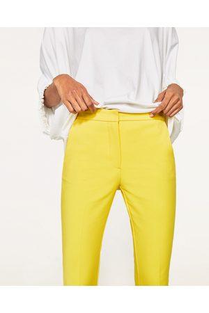 pantalon zara femme jaune