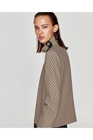 Zara TOP EN PATCHWORK AVEC BOUTONS AUX ÉPAULES