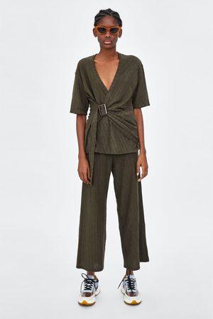Zara Pantalons larges - PANTALON FLUIDE