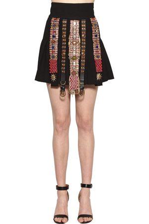 FAUSTO PUGLISI Embellished Wool Crepe Skirt