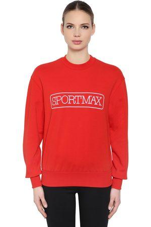 Sportmax Femme Sweatshirts - SWEAT-SHIRT EN COTON MÉLANGÉ ET LOGO IMPRIMÉ