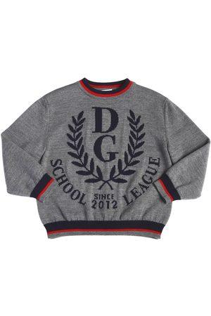 Dolce & Gabbana PULL-OVER EN LAINE ET LOGO EN INTARSIA