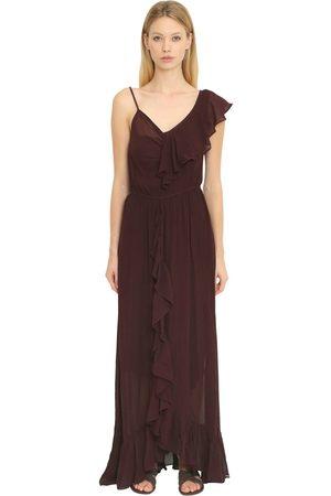 Mes Demoiselles RUFFLED SILK GEORGETTE LONG DRESS