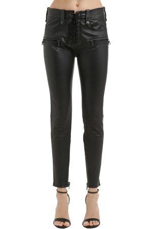 UNRAVEL Femme Pantalons en cuir - PANTALON SKINNY EN CUIR AVEC LACETS