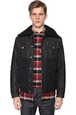 Dsquared2 DOUDOUNE EN NYLON ET DENIM AVEC SHEARLING
