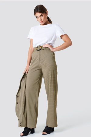 NA-KD Gathered Waist Dog-tooth Pants - Brown