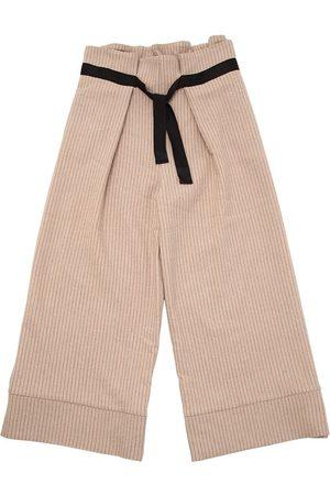 Unlabel Pantalon En Laine À Fines Rayures Avec Ceinture