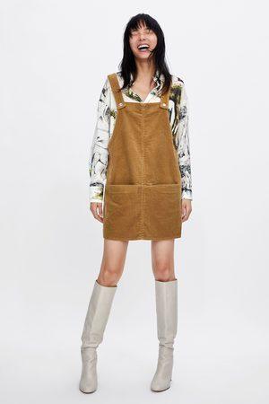Zara CORDUROY PINAFORE DRESS