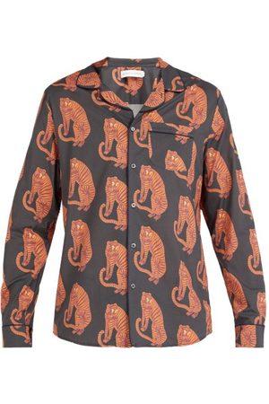 Desmond & Dempsey Chemise de pyjama en coton imprimé tigré Sansindo