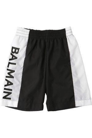 Balmain Short De Bain En Nylon Avec Logo Imprimé