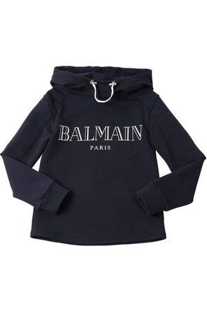 Balmain Sweat-shirt À Capuche En Coton Avec Logo Imprimé