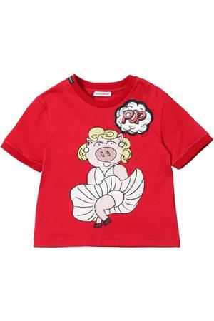 Dolce & Gabbana T-shirt En Jersey De Coton Imprimé Cochon