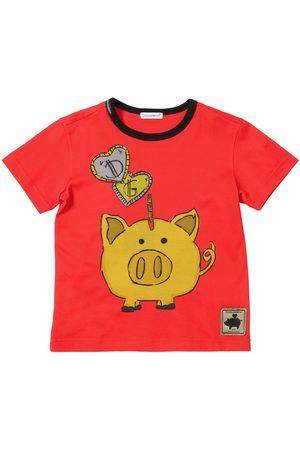 Dolce & Gabbana T-shirt En Jersey De Coton Imprimé Cochon Tirelire