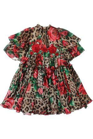 Dolce & Gabbana Robe En Chiffon De Soie Imprimé Roses Et Léopard