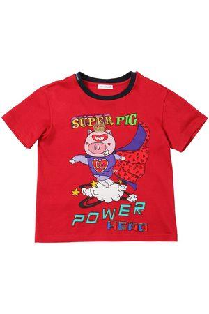 Dolce & Gabbana T-shirt En Jersey De Coton Imprimé Super Pig
