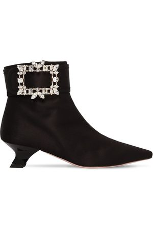 Roger Vivier 45mm Trianon Crystal Buckle Satin Boots