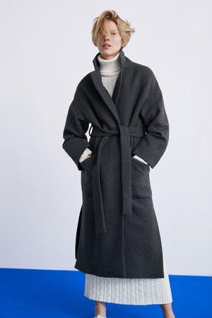 Manteau gris ceinture zara