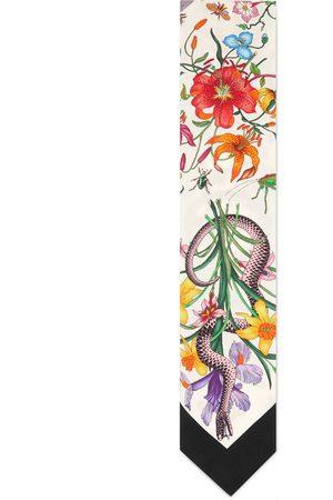 Gucci Nœud de cou à imprimé Flora serpent