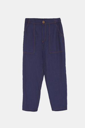 Zara LOOSE-FITTING TOPSTITCHED TROUSERS