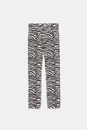 Zara Jeans - JEAN ZW PREMIUM TAILLE HAUTE IMPRIMÉ ZÈBRE