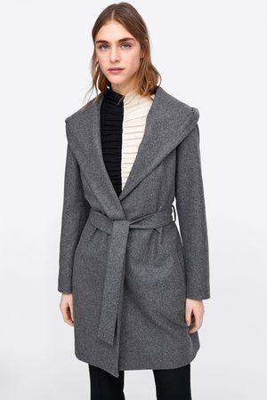 Zara Manteau à capuche et ceinture