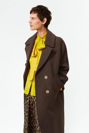 Zara Manteau en tissu fantaisie