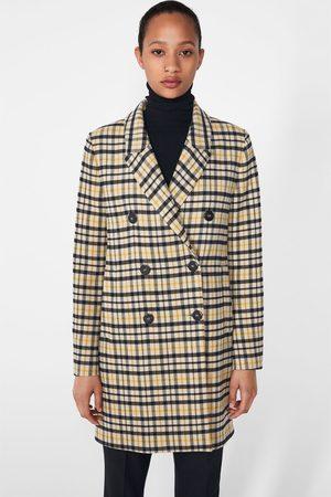 Zara Manteau au toucher doux à carreaux